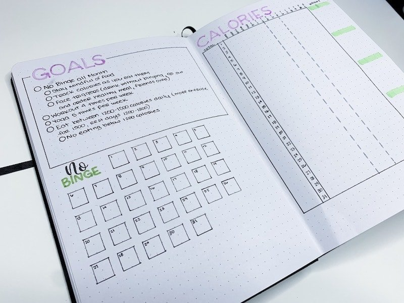 Setting Health and Fitness Goals in your bullet journal
