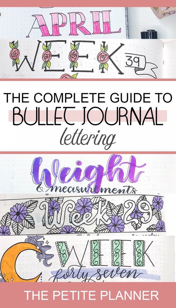 The Complete Guide to Bullet Journal Lettering. All the best tips, tricks, tools, and resources to get you started with brush lettering, print fonts, and hand lettering.