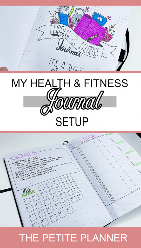 I made a separate journal for my health and fitness. In these spreads I set and track goals, track my daily calories, and plan my meals and workouts. Check out my May Health and Fitness Journal Setup