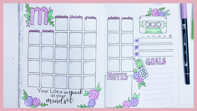 May 2019 Bullet Journal Setup and Doodle Tutorial