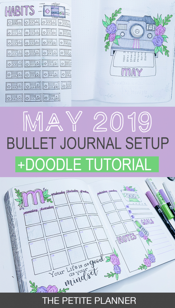 May 2019 Bullet Journal Setup and 90s Tech Doodle Tutorial