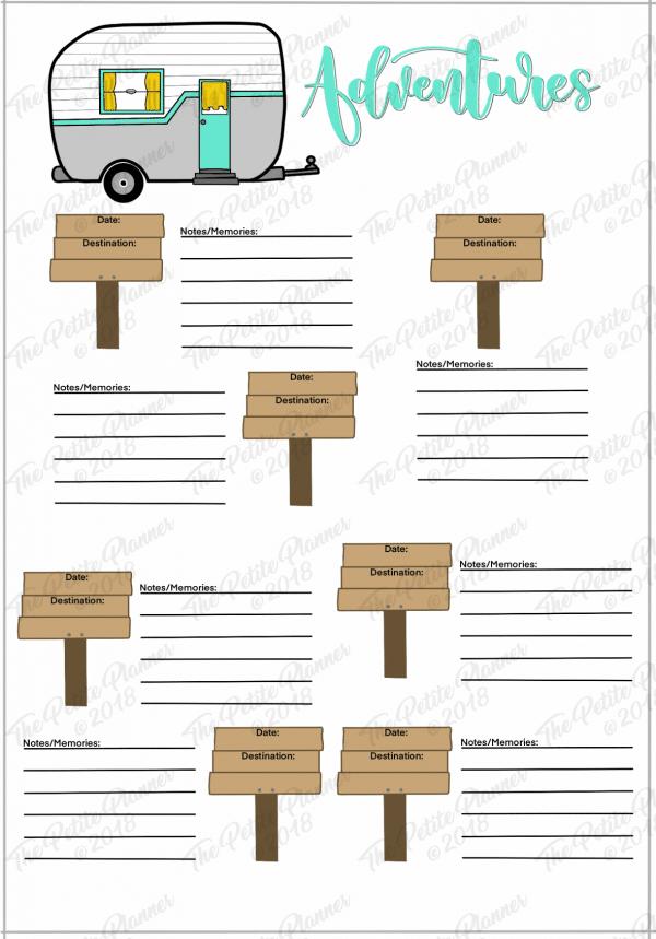 Printable Adventure Log for Your Bullet Journal