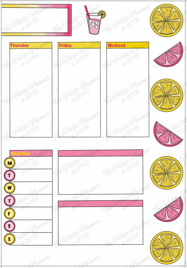 Bullet Journal Lemonade Weekly Spread Printable