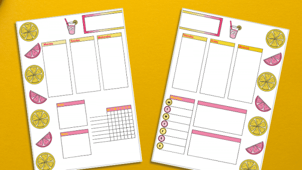 Pink Lemonade Weekly Spread Printable for Your Bullet Journal