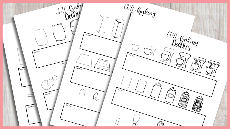 Free Printable Workbook with step-by-step baking doodles for your bullet journal.