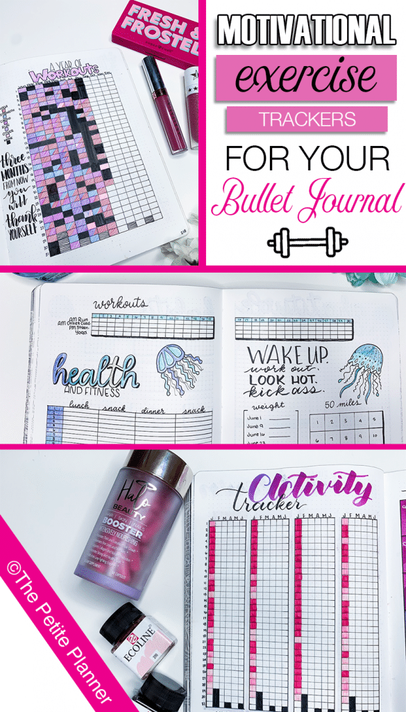 Motivational Exercise Trackers to Add to Your Bullet Journal with printables available to get you started