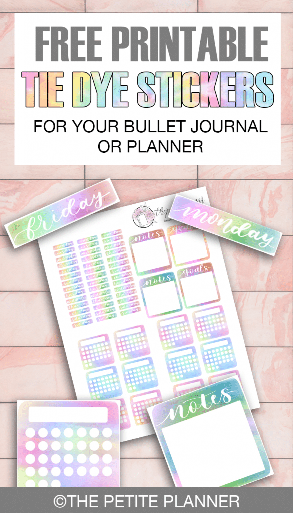 Free Bullet Journal Printable: Tie Dye Stickers with date headers, mini habit trackers, notes, and goals boxes.