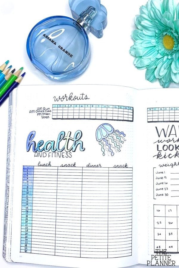 Examples of health and fitness trackers to use in planners and bujo