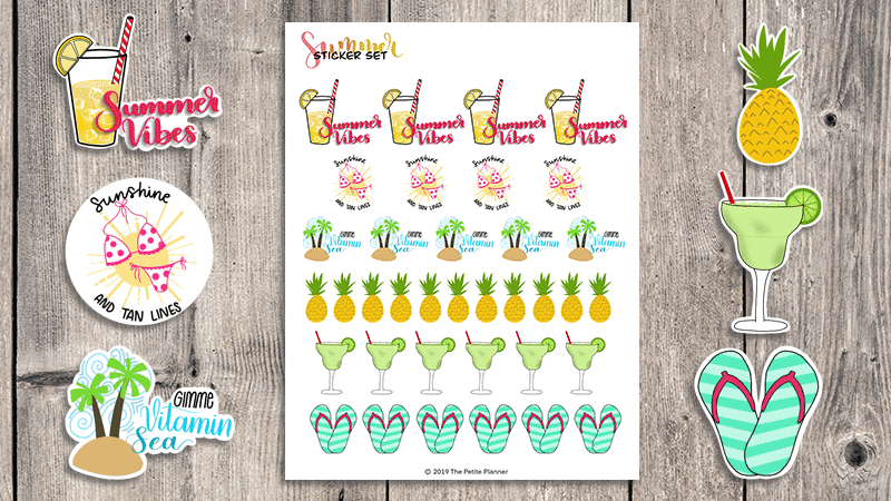 Free Printable Planner Stickers for Summer + Cut File for Cricut and Shillouette