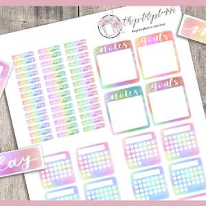 Free Bullet Journal Printables: Tie Dye Stickers
