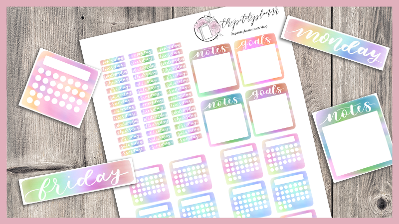 Free Bullet Journal Printables: Tie Dye Stickers with date headers, notes, goals, and mini habit trackers