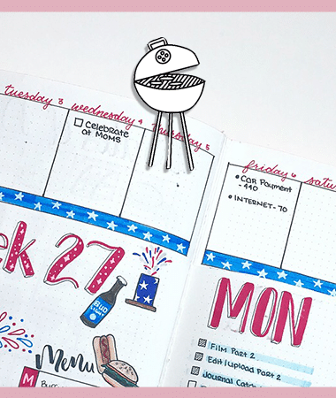 4th of July Doodles for Your Bullet Journal or Planner