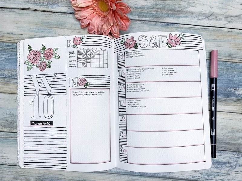 Weekly Spread with flap for privacy and added space