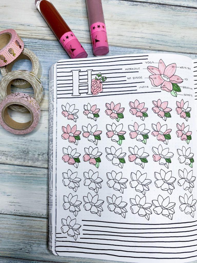 Doodle Habit Tracker in bullet journal spread