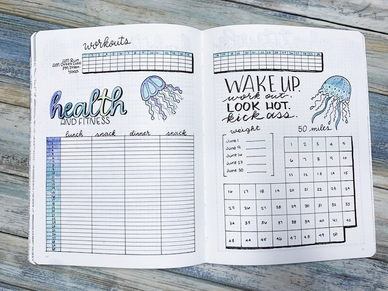 Health and Fitness Bullet Journal Spread