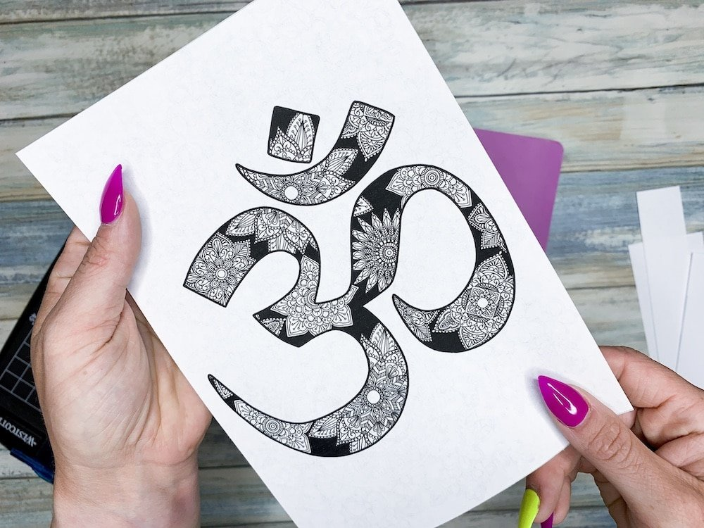 FREE Printable Mandala Coloring Page. Mandalas in the Om symbol.