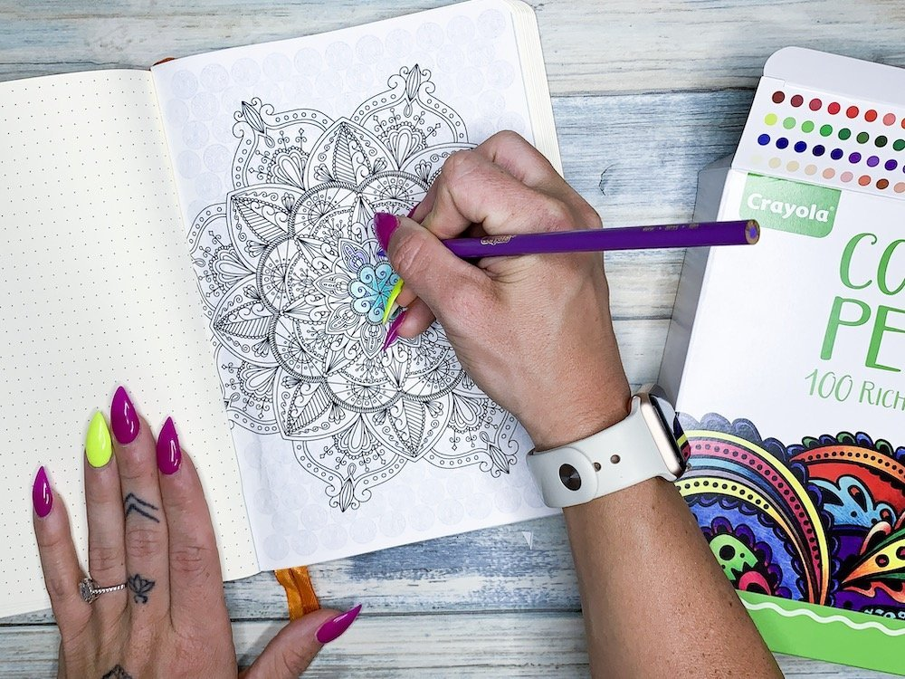 Get 4 Printable Mindful Coloring Pages that will fit in your bullet journal