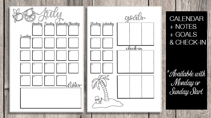 July 2019 Printable Bullet Journal Setup