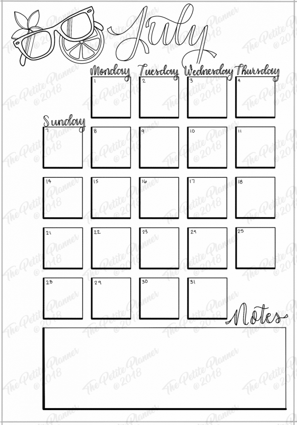 Printable Monthly Bullet Journal Setup: July 2019