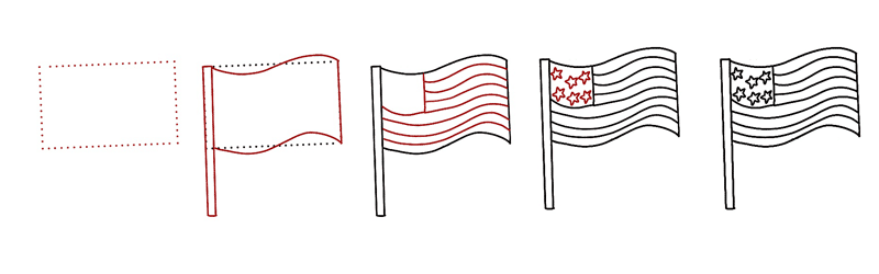 American Flag Doodle