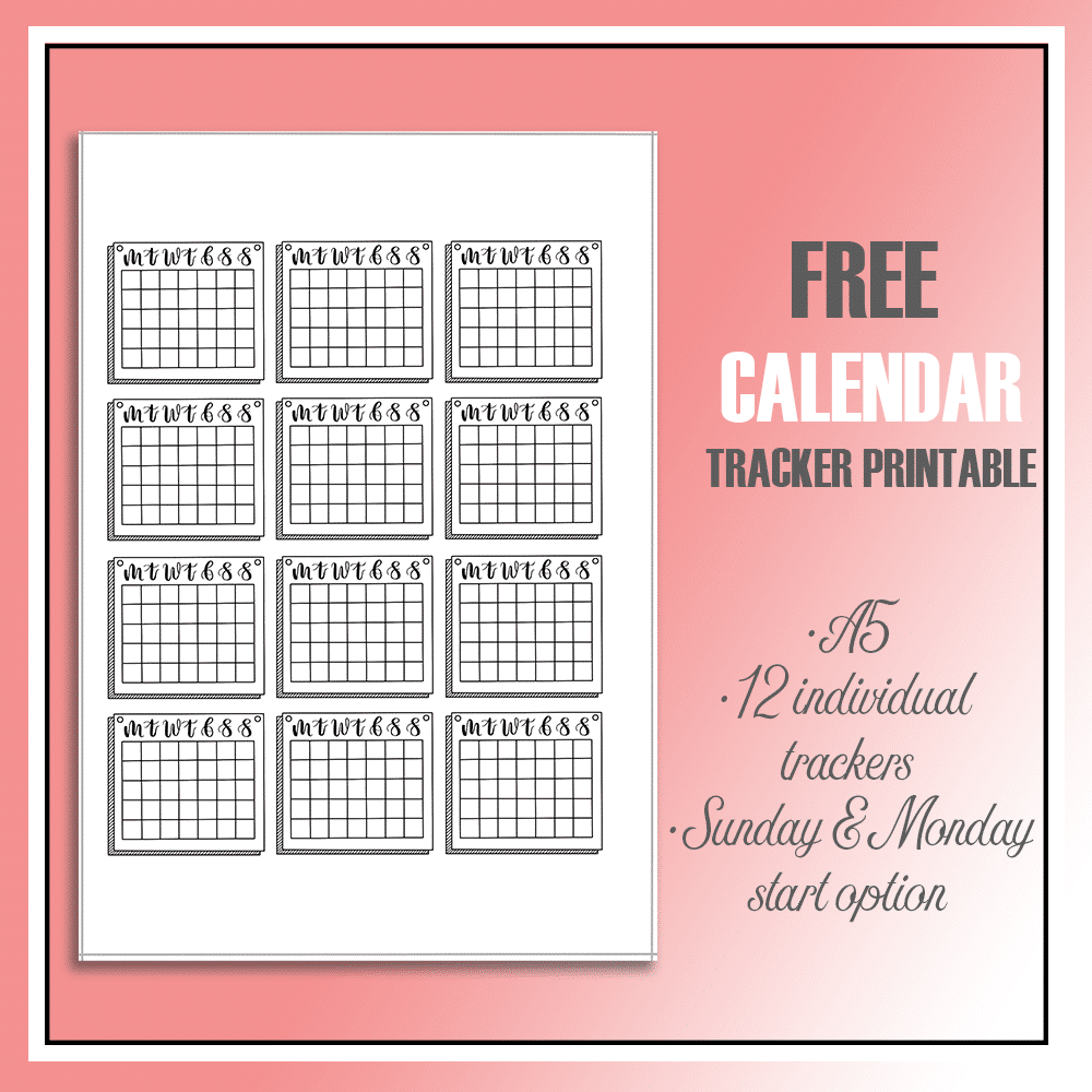 Calendar Style Mini Habit Trackers Printable