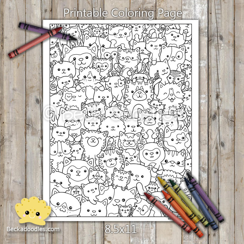 Cute Kitties Printable Coloring Page