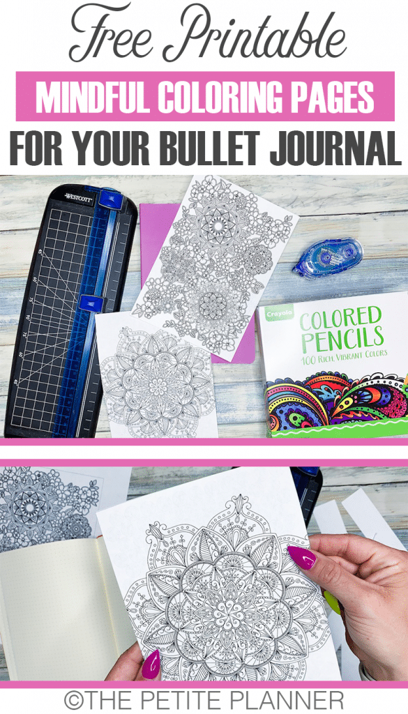 4 Free Printable Mindful Coloring Pages for your bullet journal with mandalas and florals
