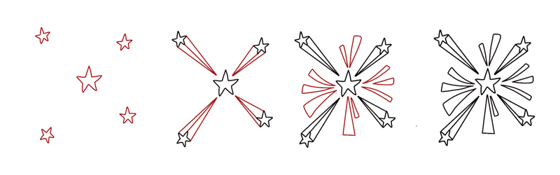 4th of July Firework Doodle Tutorial