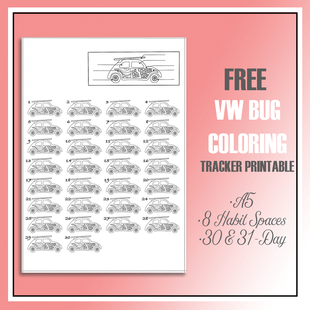 Summery Volkswagen Bug Mini Habit Tracker Printable in both 30 & 31-day version