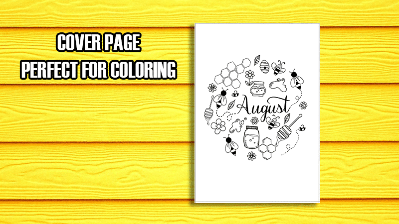 August 2019 Printable Bullet Journal Setup Cover Page Bee Inspired