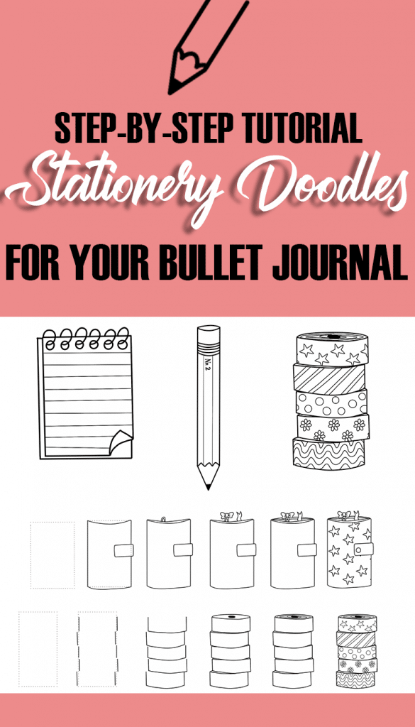 Step-by-Step Doodle Tutorial with The Petite Planner: Stationery Doodles for your Bullet Journal