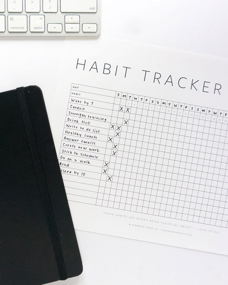 Minimalist Habit Tracker Printable