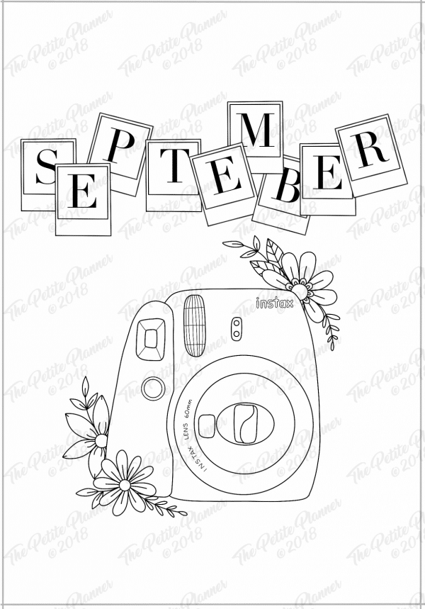 September printable cover page for bullet journal