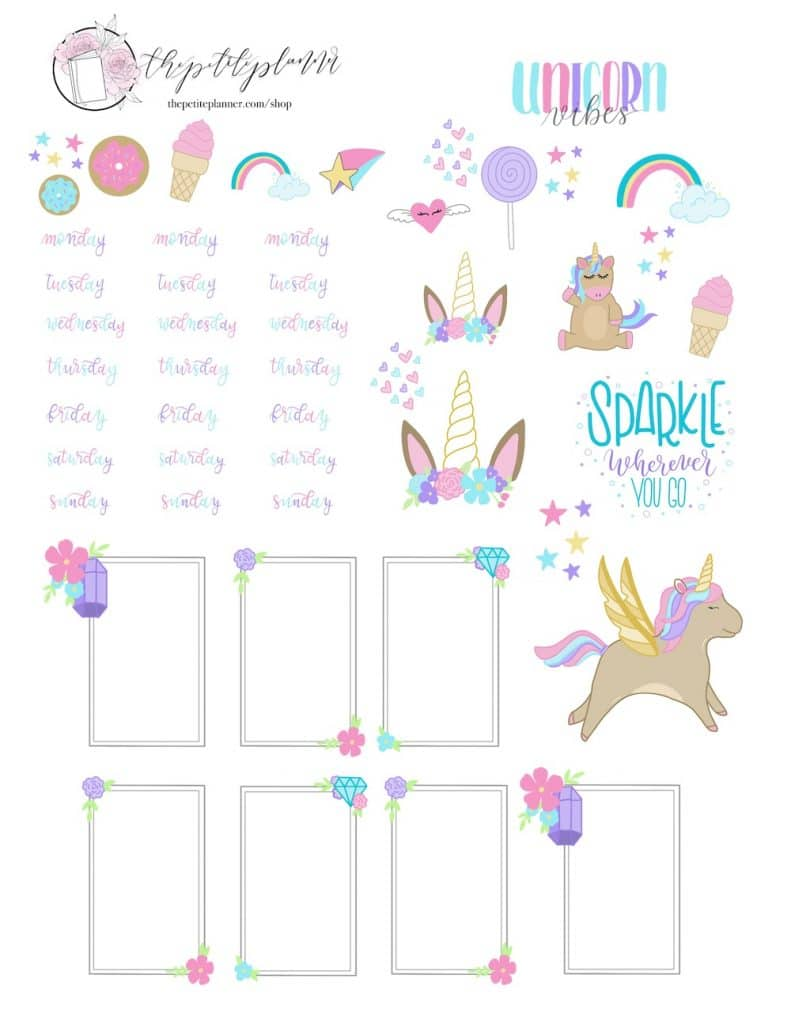Unicorn Stickers Printable for Planner or Bullet Journal