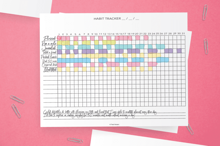 Simple Horizontal Habit Tracker Printable