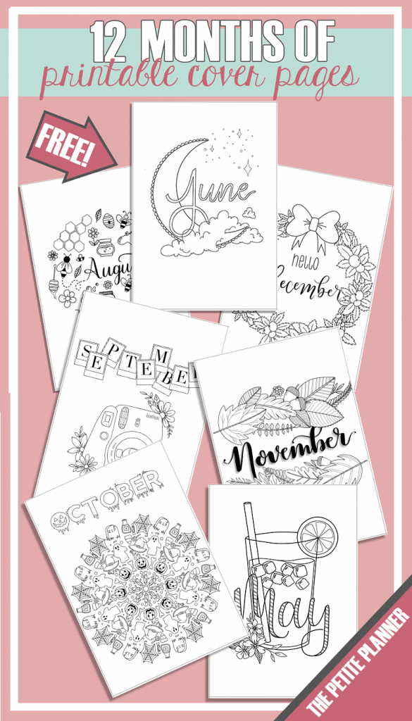 12 Months of Free Bullet Journal Cover Page Printables