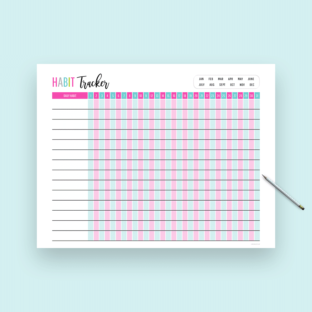 photo about Daily Habit Tracker Printable referred to as 21 No cost Printable Routine Trackers - The Pee Planner