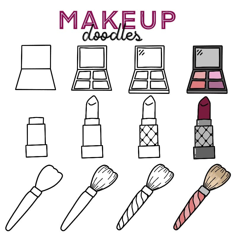 Cute Makeup Doodles for your Bullet Journal or Planner