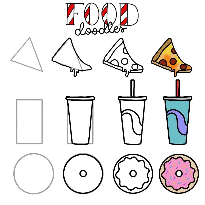 Food doodles for your Bullet journal. Easy doodles for beginners