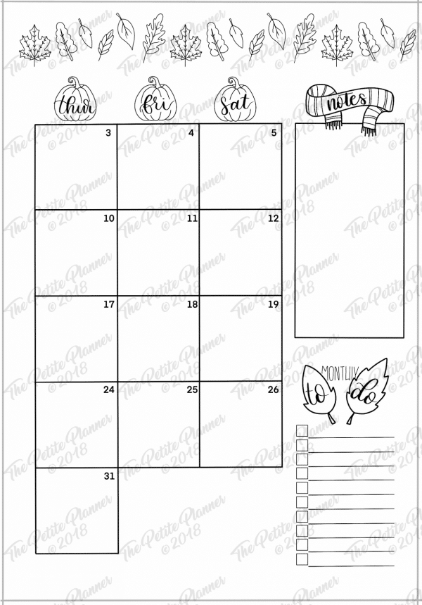 October 2019 Printable Bullet Journal Monthly Overview