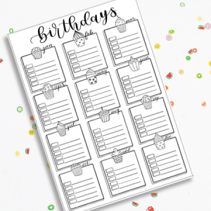 Printable bullet Journal Birthday Tracker
