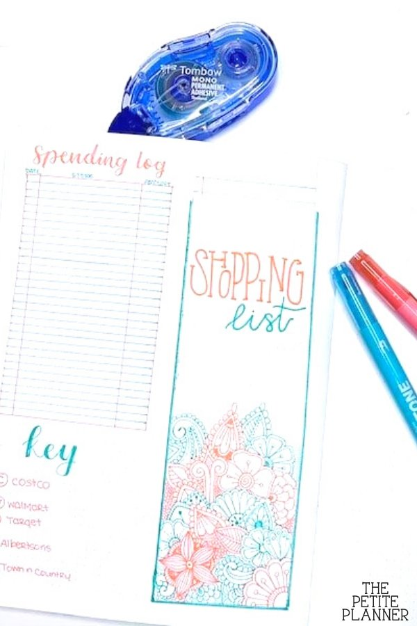 A shopping list made that can be stored in your bullet journal