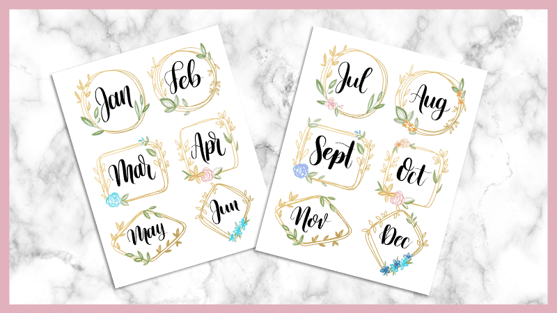 Free Printable Gold Monthly Headers for your bullet journal or digital planner