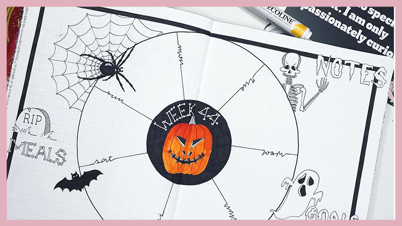 Halloween Bullet Journal Guide with Inspo and Free Printable Doodle Guide