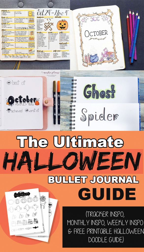 The Ultimate Halloween Bullet Journal Guide with Inspo and Free Printable Doodle Guide
