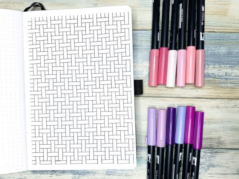 How to draw a relaxing basket weave pattern in your bullet journal