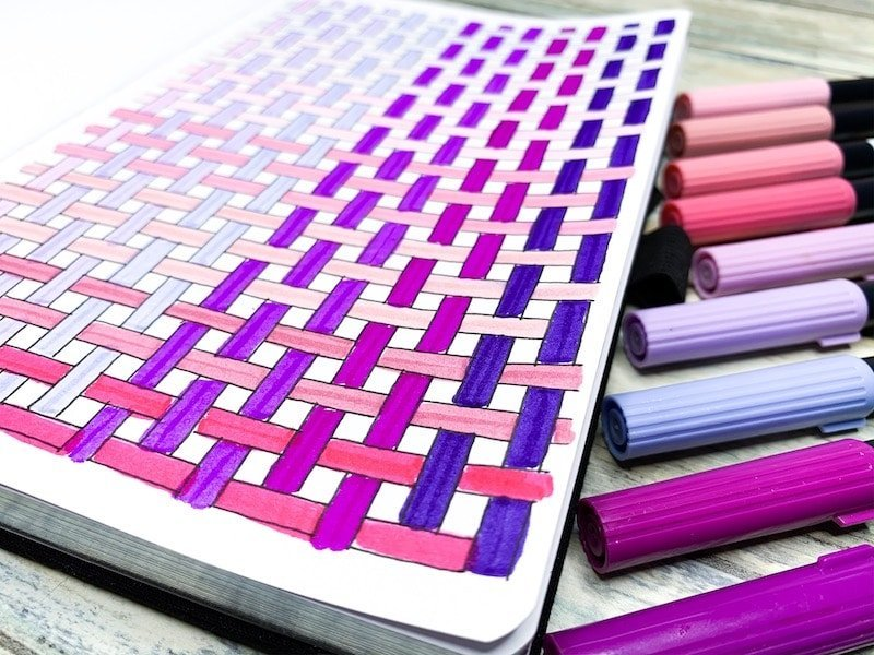 Ombre Basket Weave Pattern Drawing in Bullet Journal with Tombow Dual Brush Pens