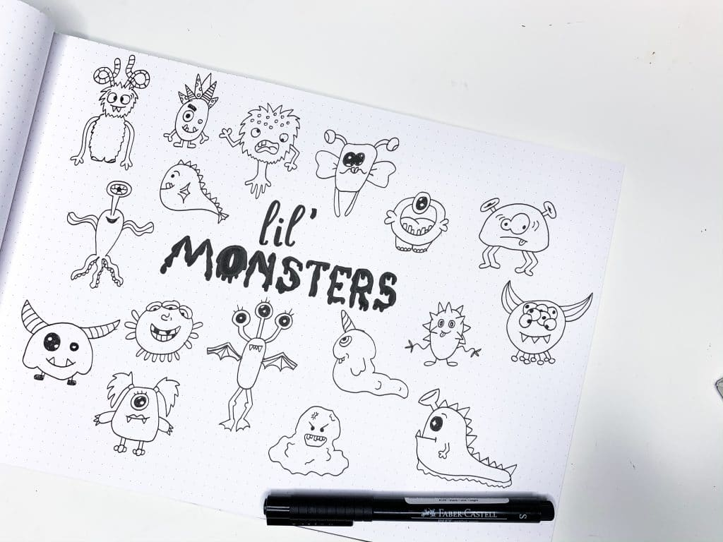 Cute Monster Doodles for Your Bullet Journal