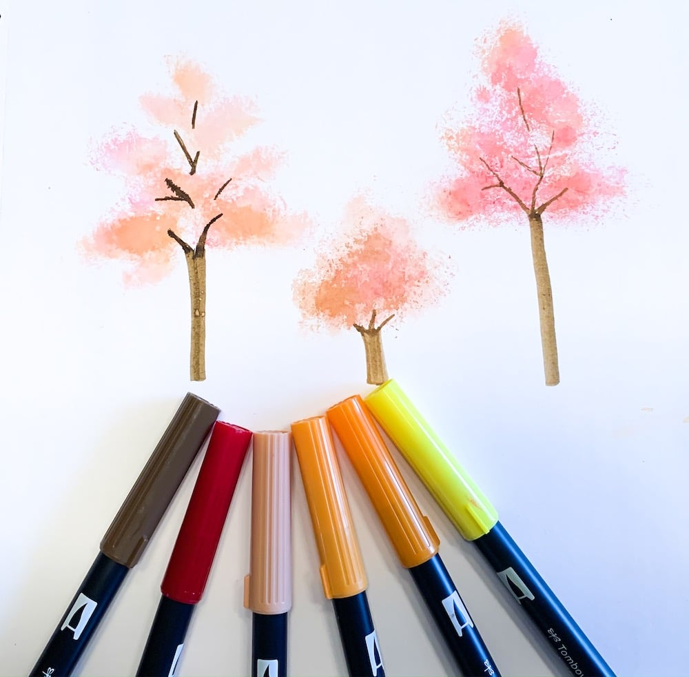 Easy watercolor trees with tombow dual brush pens