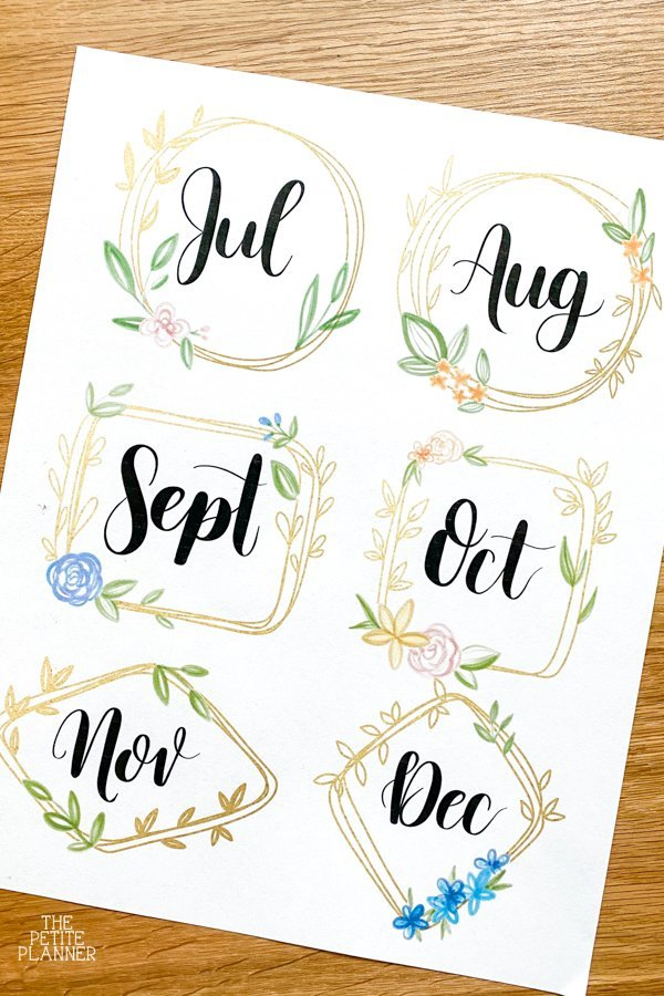 Gold months of the year printables on white paper
